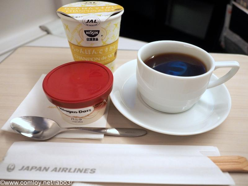 日本航空 JL31 羽田 - バンコク ビジネスクラス機内食 ちゃんぽんですかい