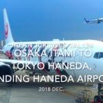 【機内から離着陸映像】2018 Dec. JAPAN Airlines JAL124 OSAKA ITAMI to TOKYO HANEDA, Landing HANEDA Airport 日本航空 伊丹 - 羽田 羽田空港着陸