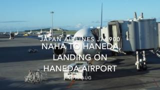 【機内から離着陸映像】2019 AUG Japan airlines JAL900 NAHA to HANEDA, Landing on HANEDA Airport