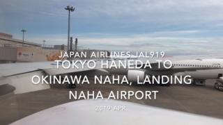 【機内から離着陸映像】2019 Apr JAPAN AIRLINES JAL919 TOKYO HANEDA to OKINAWA NAHA, Landing NAHA Airport