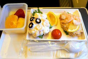 日本航空 JL785 ホノルルー成田 エコノミークラスシーフード機内食
